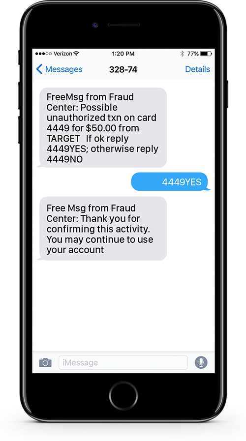 Debit Card Fraud Alerts Text